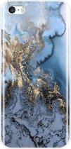 Marmer Back cover voor Apple iPhone 5 / 5s - iPhone SE - Blauw - Goud - TPU