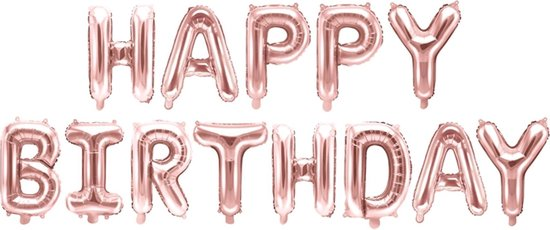 PARTYDECO - Roségouden aluminium happy birthday letter ballonnen - Decoratie > Ballonnen