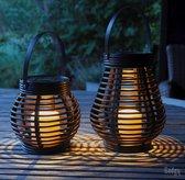 Gadgy Solar Rotan Tafellamp set van 2 – 21 en 16 cm - Solar tuinverlichting op zonneenergie - Tuinlantaarn - Led buitenverlichting met dag/nacht sensor - voor binnen en buiten -