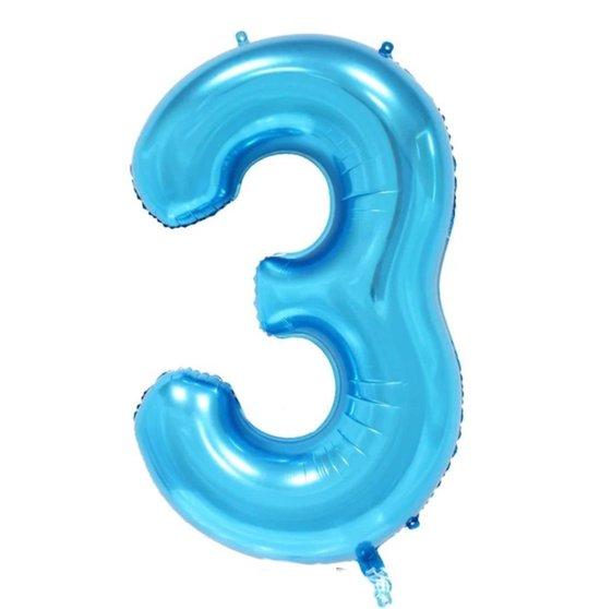 Folie ballon cijfer 3 blauw met gouden kroon