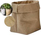 QUVIO Plantenzak uitwasbaar - Bloempot duurzaam - Plantenbak - Kraftpapier - Waterdicht - Milieuvriendelijk - 9x9x15cm - Bruin