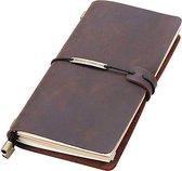 Afbeelding van Luxe Leren Notitieboek a5 Met Gelinieerd & Blanco Papier | 100% Buffel Leer | Hervulbaar & Herschrijfbaar | 2 Soorten Notitieboeken | Notebook | Notitieboek leer | Koffie