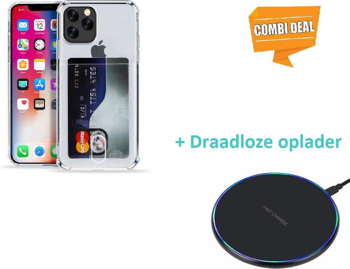 iPhone 11 Pro Max Shock case met pashouder met draadloze oplader