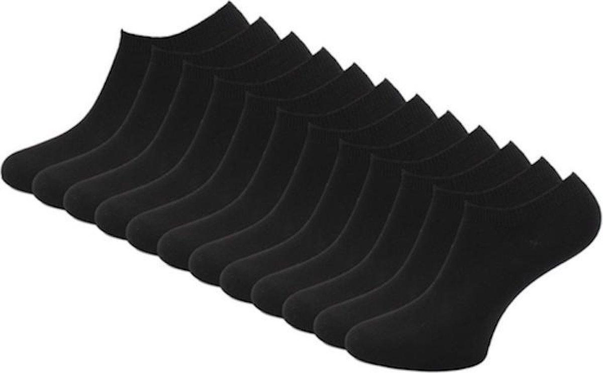 12 paar Bonanza sneakersokken - Basic - Platte Naad - Zwart - Maat 47-50