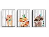 Postercity - Design Canvas Poster Set Indianen Vos, Wasbeer en Beer met Boog / Kinderkamer / Dieren Poster / Babykamer - Kinderposter / Babyshower Cadeau / Muurdecoratie / 40 x 30cm / A3