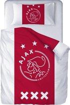 Ajax Dekbedovertrek - 140x200cm - Wit/Rood