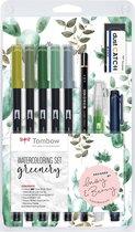 Tombow Watercoloring set greenery - 5 ABT Dual Brush Pens