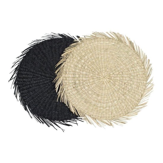 Ronde Placemat Zeegras Zwart met Franje (38 cm)