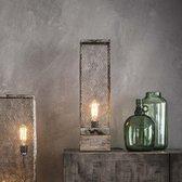 LifestyleFurn Tafellamp 'Rainn' Gaas met houten voet