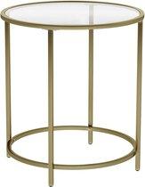 Ronde Bijzettafel van Gehard Glas met Gouden Metalen Frame - Kleine Glazen Salontafel in Goud Kleur