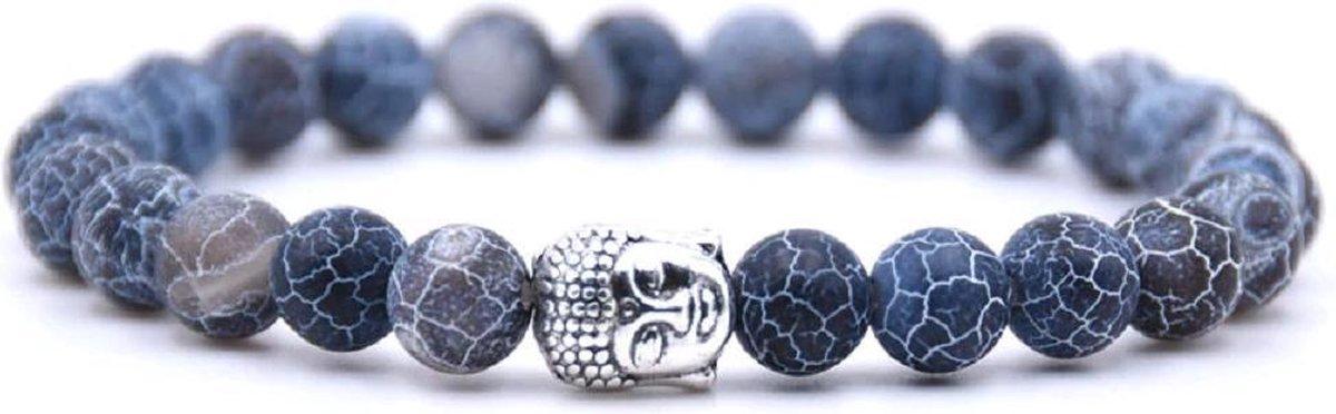 Mala Armband Van Natuursteen - Blauwe Stenen   Buddha / Boedha   20 cm - Rhylane