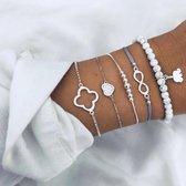 Joboly Set armbanden kralen infinity olifant klavertje 5 delig - Dames - Zilverkleurig - 18 cm