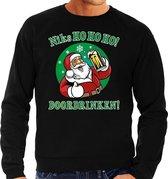 Foute Kersttrui / sweater - Niks ho ho ho doordrinken - peul bier / biertje - zwart voor heren - kerstkleding / kerst outfit 2XL (56)
