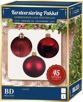 Kerstbal en ster piek set 45x rood - voor 120 cm boom - Kerstboomversiering rood