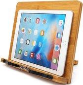 AWEMOZ® Boekstandaard - Bamboe Hout - Tablethouder - Kookboekstandaard - Laptopstandaard - Telefoonhouder