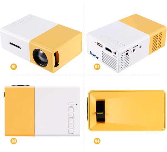 LED LCD Projector Met Ingebouwde Accu - Mini Beamer - Pocket Projectoren met HDMI, USB en SD aansluiting voor Home cinema of presentaties - Compact & Draagbare Beamers - HDMI kabel - Afstandbediening