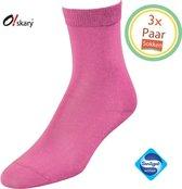 Sokken Dames   3 Paar Damessokken roze   Roze damessokken   Anti-bacterieel door Zwitserse Sanitized®   Maat 36-38