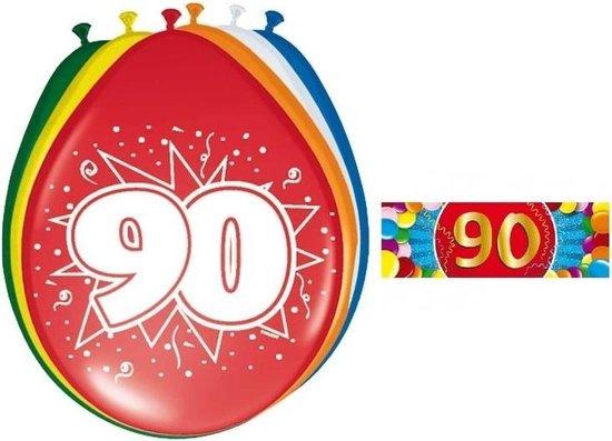 Ballonnen 90 jaar van 30 cm 16 stuks + gratis sticker