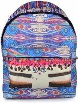Biggdesign Blue Water-rugzak, waterdichte stof, schooltas / lichte sporttas met verstelbare riem, voorvak met ritssluiting aan voorzijde, blauwe kleur / 43 cm