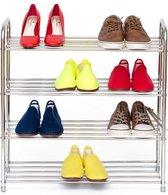 Stevig Metalen Schoenenrek - Met 4 Etages - Antislip - Ruimtebesparend Compact Staand Schoenen Opberger Rek - Shoe Rack Voor 12 Paar Schoenen Opbergen - Zilver Kleurig