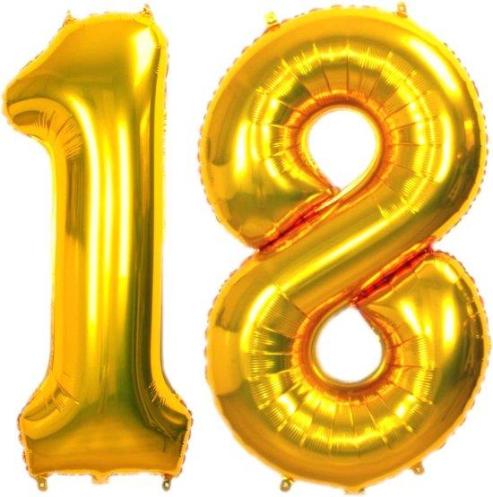 Folie Ballon Cijfer 18 Jaar Goud 86Cm Verjaardag Folie ballon Met Rietje