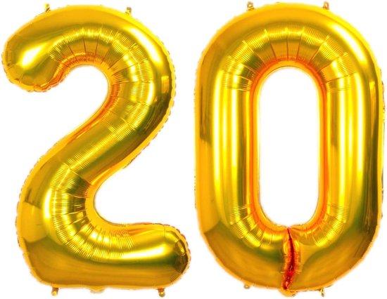 Folie Ballon Cijfer 20 Jaar Goud 86Cm Verjaardag Folieballon Met Rietje