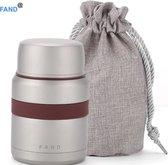 Thermos lunchbox - Lunchpot - Voedseldrager - Voedselcontainer - Dubbelwandig - 550 ml - Draagzak met koord - Lepel - Grijs
