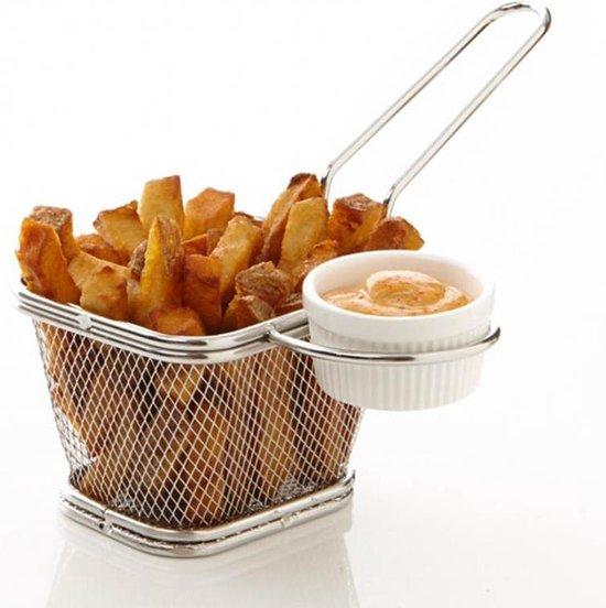 Mini patatmandje | Frietmandje | Frietmand | Frituurmand | Serveer mandje | Snackmandje | Snackhouder