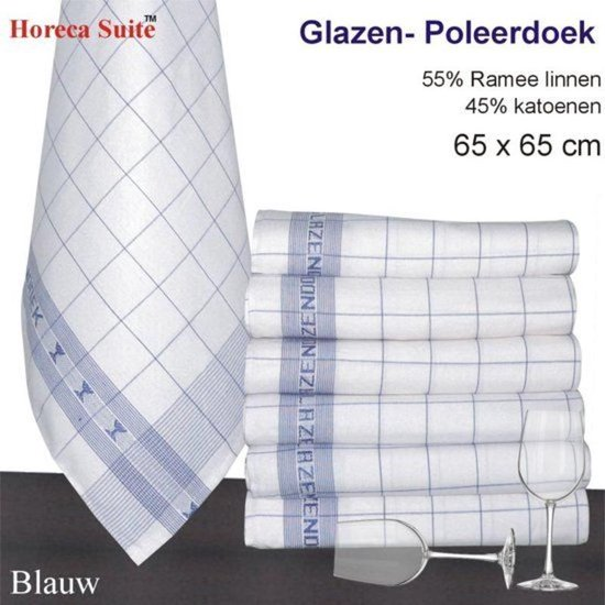 Glazendoek - Poleerdoeken jacquard Blauw ruiten 65x65cm - set van 6 stuks - 50% Ramee linnen 50% katoen