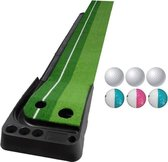 PGM Golf Putting Mat Push Rod Trainer 3m  with Three Soft Balls & Three Bicolor Balls & Auto Ball Return Fairway (Green)