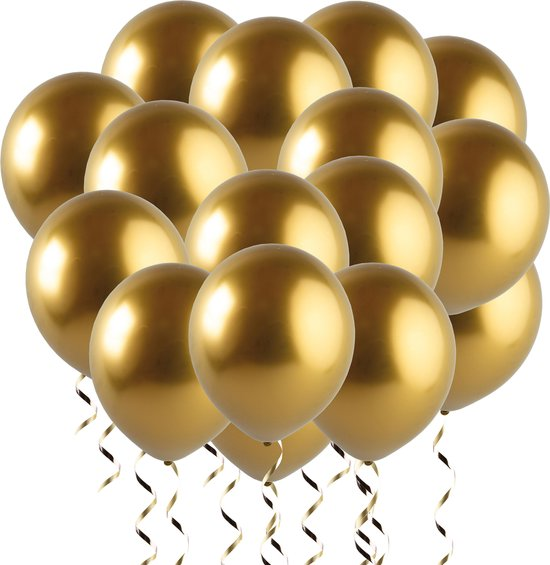 Fissaly® 30 stuks Gouden Helium Latex Ballonnen met Lint - Decoratie – Goud – Sarah & Abraham 50 jaar