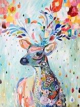 Happy Painter® Diamond Painting volwassenen - Kleurrijk hert - 30x40cm