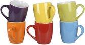 Orange85 - Koffiekopjes set gekleurd - 300 ml - Kleuren: paars, geel, groen, oranje, rood en blauw