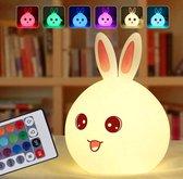 Nachtlamp LED Konijn | LED Nachtlamp | Konijn | USB Oplaadbaar | 7 verschillende kleuren | Nachtlampje met Afstandsbediening | Oplaadbaar | Kinderen en baby kamer