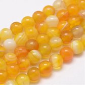 Natuurstenen kralen, geel met wit gemeleerd Agaat, ronde kralen van 8mm. Verkocht per streng van ca. 38 cm