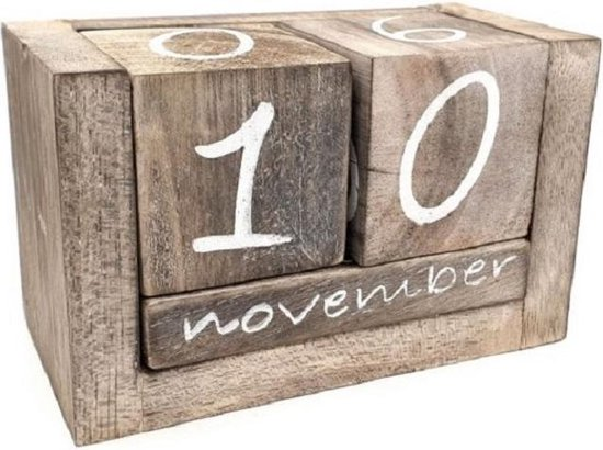 Blok kalender - Hout - Nederlandse Tekst - 10x16cm - Naturel - Eeuwigdurende kalender