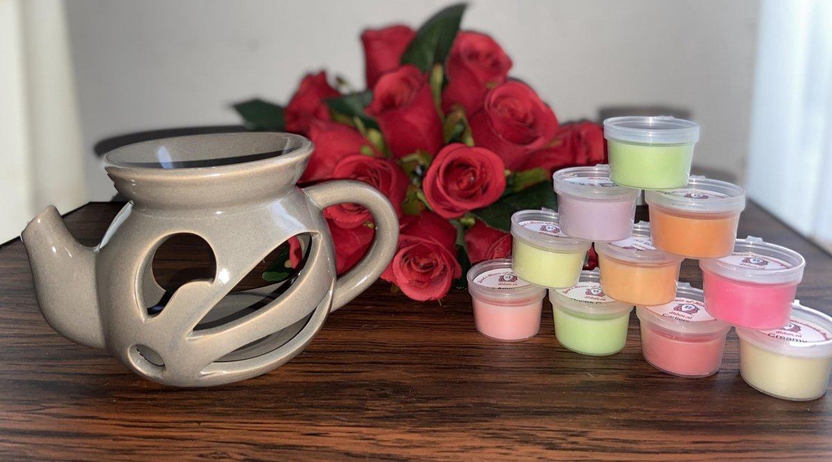Wax Melts (parfum)geuren verrassingspakket met 10 geuren incl. DHHM | Aromabrander | Geurbrander | Theepot | Grijs