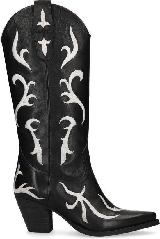 Sacha - Dames - Zwarte cowboylaarzen met witte details - Maat 41