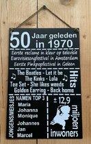 Zinken tekstbord 50 jaar geleden in 1970 - Antraciet - 20x30 cm. - Abraham - Sarah - jubileum - gouden bruiloft