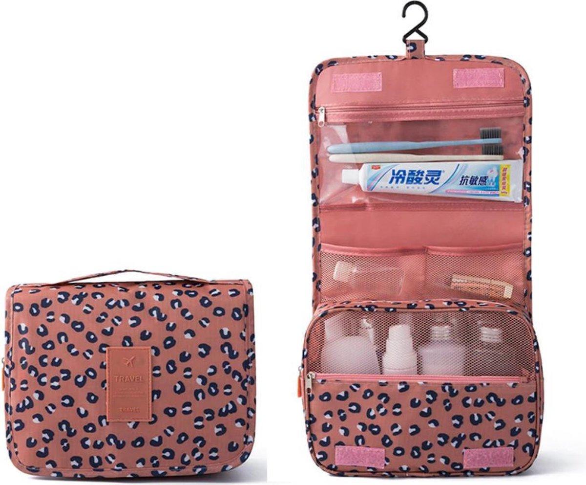 Toilettas met Luipaard print - Roze - Met Haak - Travel bag - Organizer voor toiletartikelen - Reisa