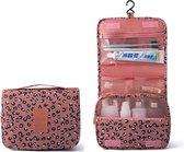 Toilettas met Luipaard print - Roze - Met Haak - Travel bag - Organizer voor toiletartikelen - Reisartikelen - Dames - Vrouwen - Meisjes