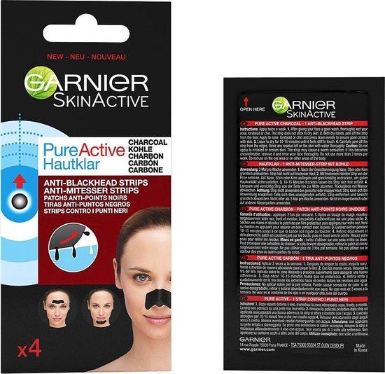 Garnier Skinactive Face SkinActive PureActive Nose strips Charcoal - 2 x 4 Stuks - Tegen mee-eters, verstopte poriën en overtollig talg - Voordeelverpakking