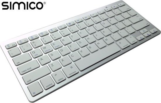 SIMICO Wireless Bluetooth Keyboard toetsenbord Zilver iOS PC Mac Android OSX compatible