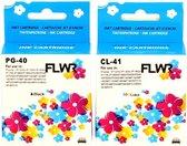 FLWR - Inktcartridge / PG-40 + CL-41 2-pack Zwart en Kleur - Geschikt voor Canon