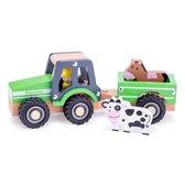 New Classic Toys Houten Tractor met Aanhanger - Groen