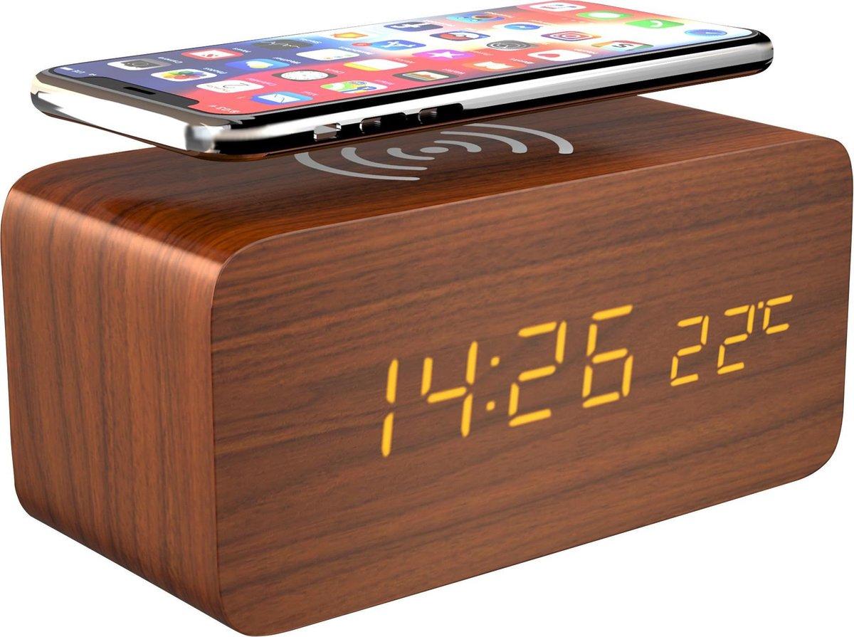 Gadgy Digitale Houten Wekker met Draadloze oplader - Alarmklok met Temperatuur, Datum en Tijd