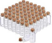 relaxdays glazen flesjes met kurk - 60 stuks - mini glasflesjes - kleine glaasjes