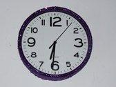 Glitter klok Paars/Wit 30 cm
