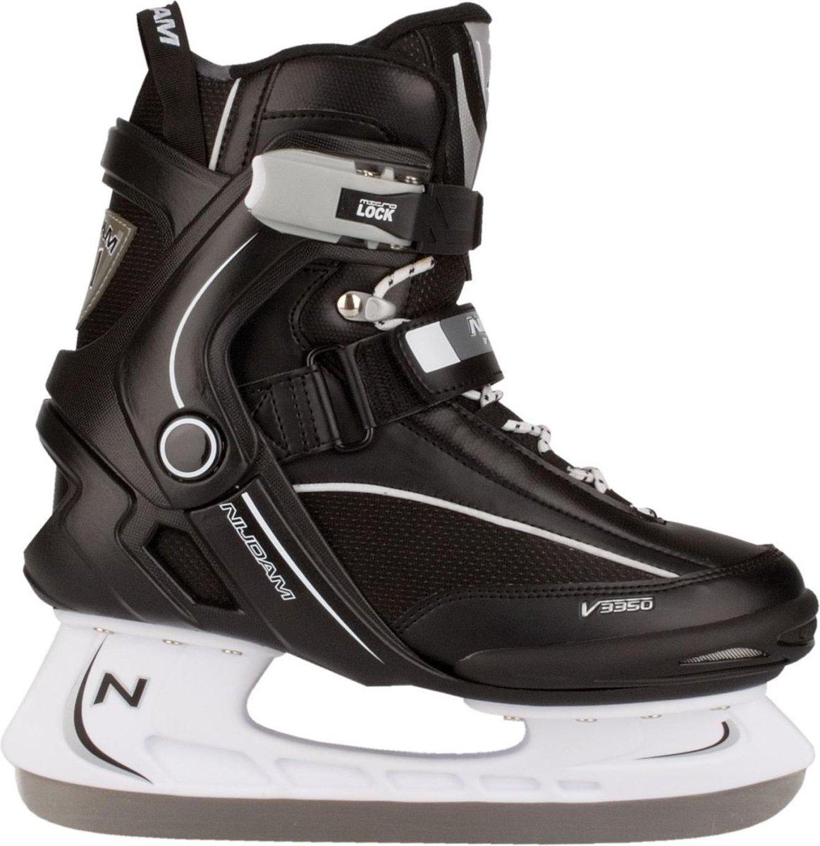 Nijdam IJshockeyschaats - Semi-Softboot - Zwart/Wit - Maat 45