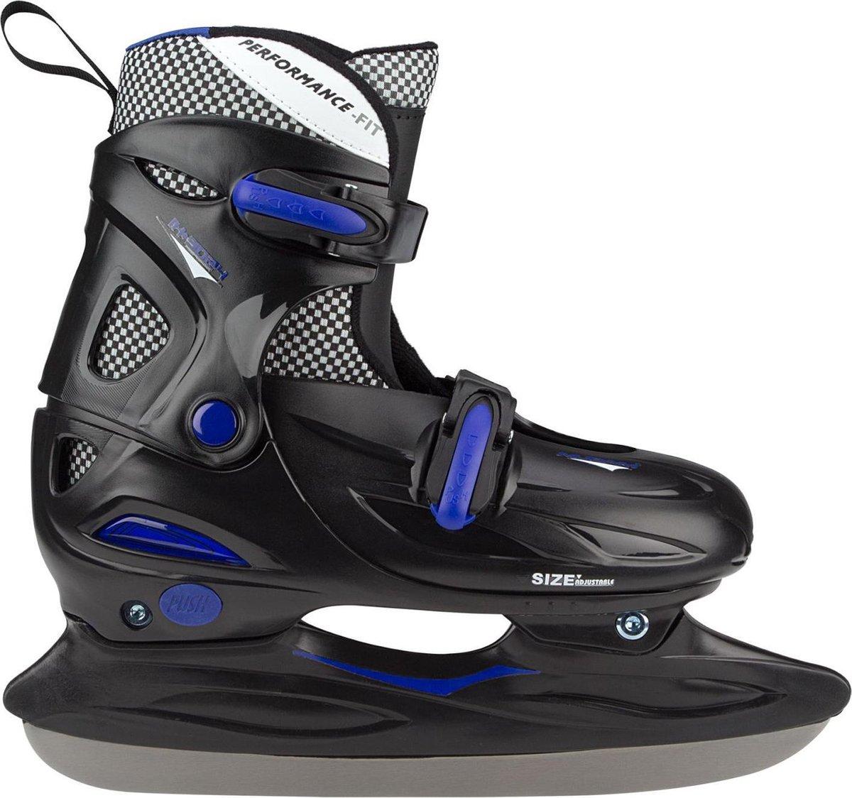 Nijdam Junior IJshockeyschaats - Verstelbaar - Hardboot - Zwart/Blauw - Maat 30-33